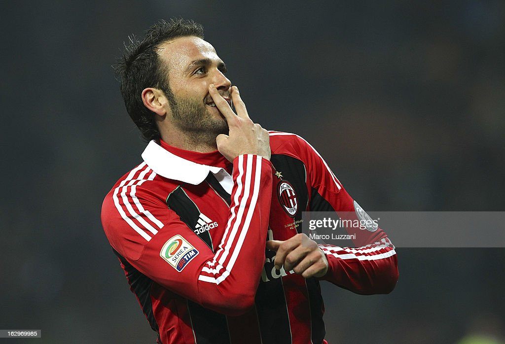 Giampaolo Pazzini of AC Milan celebrates after scoring his second goal during the Serie A match between AC Milan and S.S. Lazio at San Siro Stadium on March 2, 2013 in Milan, Italy.