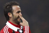 Giampaolo Pazzini of AC Milan celebrates after scoring his second goal during the Serie A match between AC Milan and SS Lazio at San Siro Stadium on...