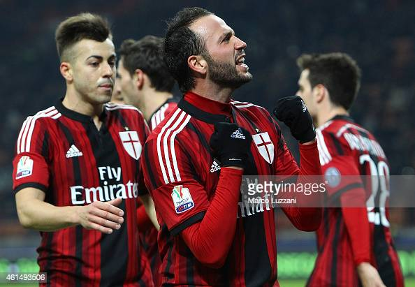 Giampaolo Pazzini of AC Milan celebrates after scoring the opening goal during the TIM Cup match between AC Milan and US Sassuolo Calcio at Stadio...