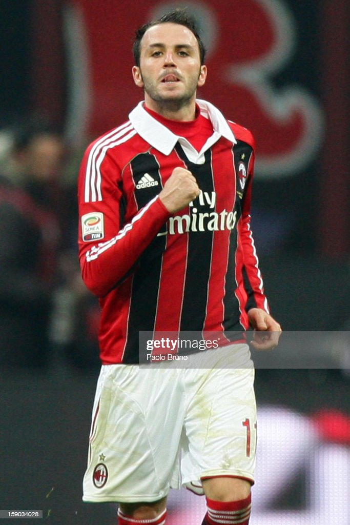Giampaolo Pazzini of AC Milan celebrates after scoring the second team's goal during the Serie A match between AC Milan and AC Siena at San Siro Stadium on January 6, 2013 in Milan, Italy.