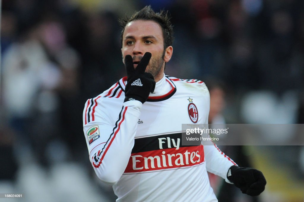 Giampaolo Pazzini of AC Milan celebrates after scoring their third goal during the Serie A match between Torino FC and AC Milan at Stadio Olimpico di Torino on December 9, 2012 in Turin, Italy.