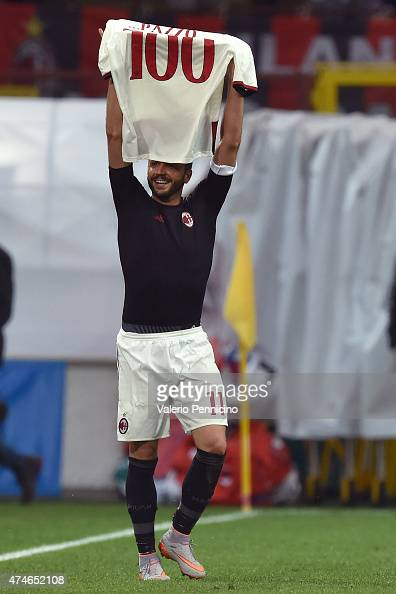 Giampaolo Pazzini of AC Milan celebrates his 100th goal during the Serie A match between AC Milan and Torino FC at Stadio Giuseppe Meazza on May 24...