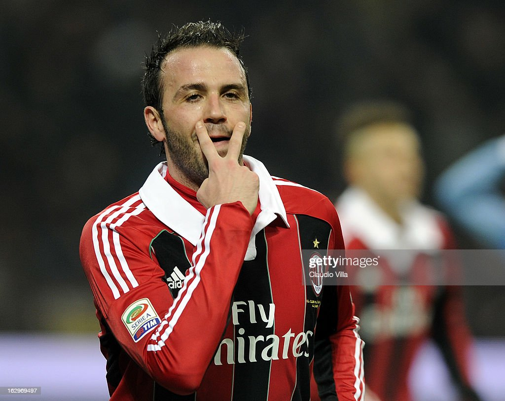 Giampaolo Pazzini of AC Milan celebrates scoring the first goal during the Serie A match between AC Milan and S.S. Lazio at San Siro Stadium on March 2, 2013 in Milan, Italy.