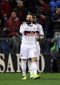 Giampaolo Pazzini of AC Milan celebrates scoring the first goal during the Serie A match between Genoa CFC and AC Milan at Stadio Luigi Ferraris on...