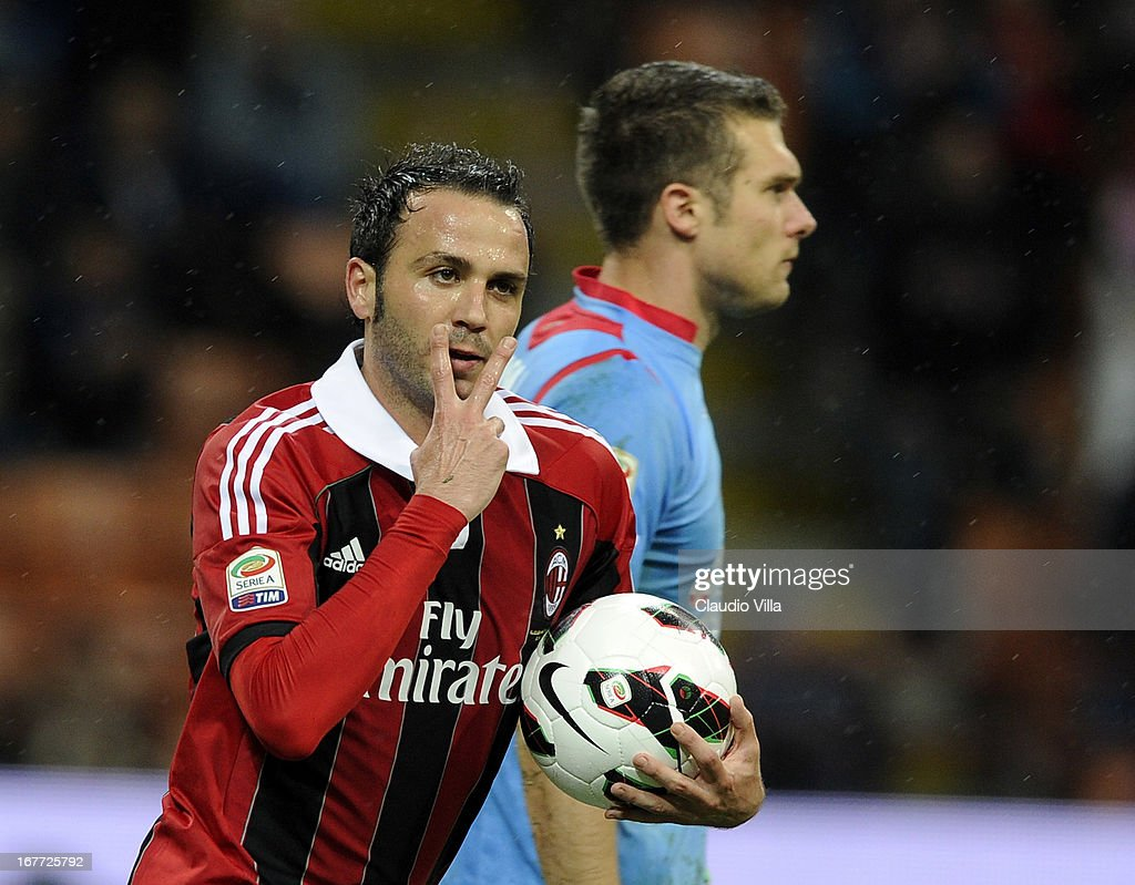 Giampaolo Pazzini of AC Milan celebrates scoring the second goal during the Serie A match between AC Milan and Calcio Catania at San Siro Stadium on April 28, 2013 in Milan, Italy.