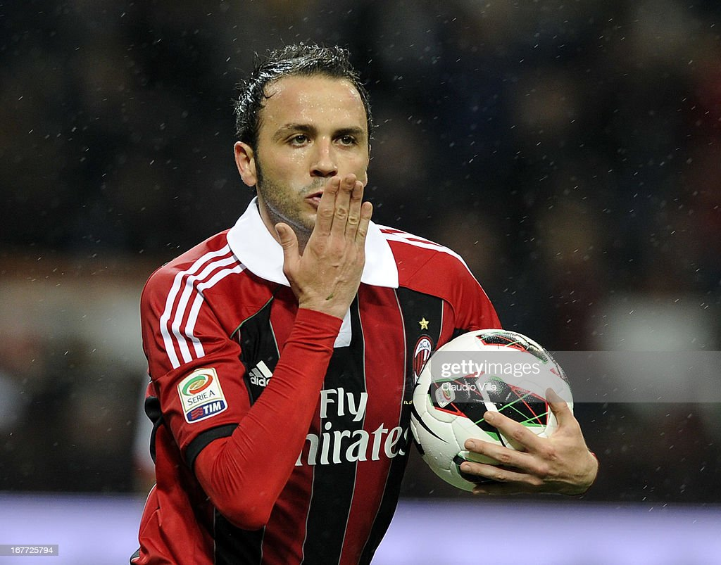 <a gi-track='captionPersonalityLinkClicked' href=/galleries/search?phrase=Giampaolo+Pazzini&family=editorial&specificpeople=800179 ng-click='$event.stopPropagation()'>Giampaolo Pazzini</a> of AC Milan celebrates scoring the second goal during the Serie A match between AC Milan and Calcio Catania at San Siro Stadium on April 28, 2013 in Milan, Italy.