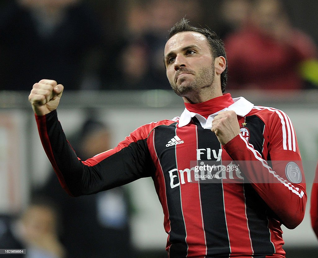 Giampaolo Pazzini of AC Milan celebrates scoring the third goal during the Serie A match between AC Milan and S.S. Lazio at San Siro Stadium on March 2, 2013 in Milan, Italy.