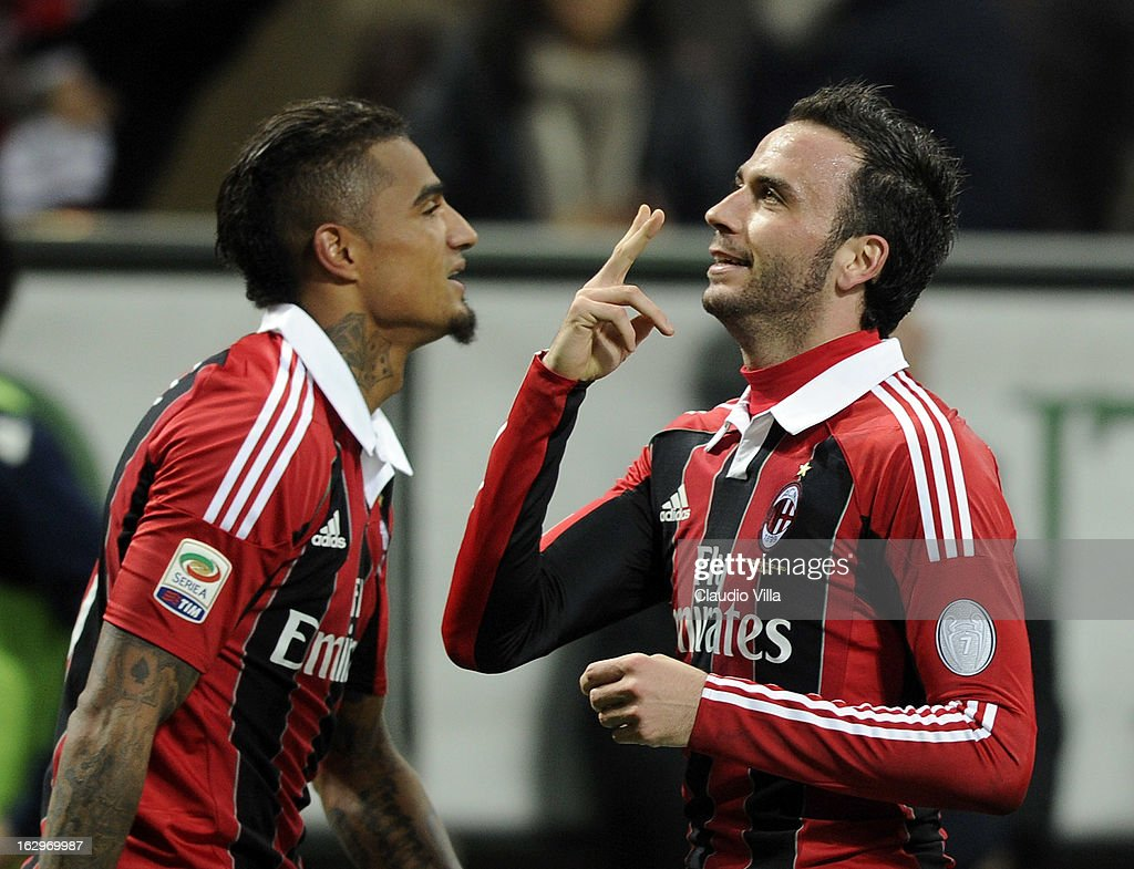 Giampaolo Pazzini of AC Milan (R) celebrates scoring the third goal during the Serie A match between AC Milan and S.S. Lazio at San Siro Stadium on March 2, 2013 in Milan, Italy.