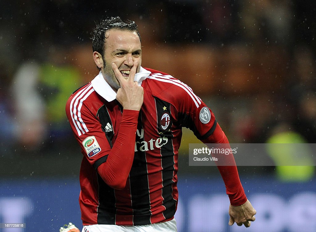 <a gi-track='captionPersonalityLinkClicked' href=/galleries/search?phrase=Giampaolo+Pazzini&family=editorial&specificpeople=800179 ng-click='$event.stopPropagation()'>Giampaolo Pazzini</a> of AC Milan celebrates scoring the third goal during the Serie A match between AC Milan and Calcio Catania at San Siro Stadium on April 28, 2013 in Milan, Italy.