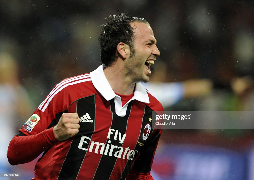 Giampaolo Pazzini of AC Milan celebrates scoring the third goal during the Serie A match between AC Milan and Calcio Catania at San Siro Stadium on April 28, 2013 in Milan, Italy.
