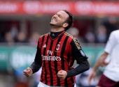 Giampaolo Pazzini of AC Milan celebrates scoring the third goal during the Serie A match between AC Milan and AS Livorno Calcio at San Siro Stadium...