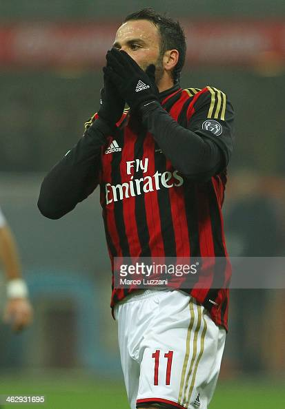 Giampaolo Pazzini of AC Milan gestures during the TIM Cup match between AC Milan and AC Spezia at Stadio Giuseppe Meazza on January 15 2014 in Milan...