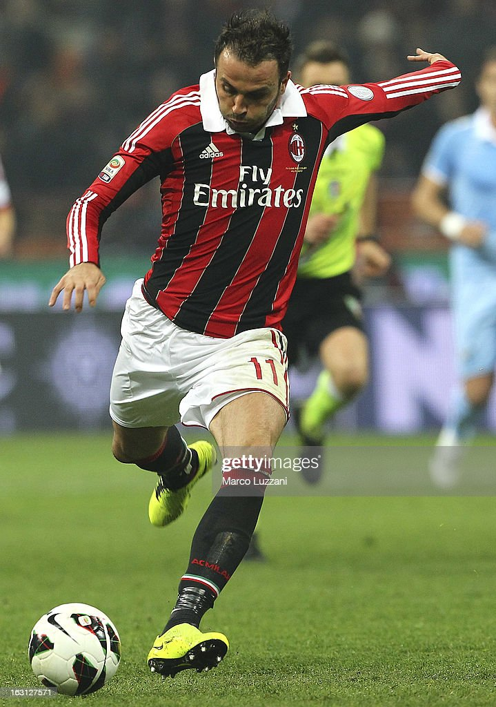 Giampaolo Pazzini of AC Milan in action during the Serie A match between AC Milan and S.S. Lazio at San Siro Stadium on March 2, 2013 in Milan, Italy.