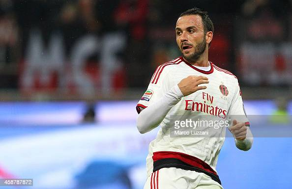 Giampaolo Pazzini of AC Milan looks on during Luigi Berlusconi Trophy at Stadio Giuseppe Meazza on November 5 2014 in Milan Italy