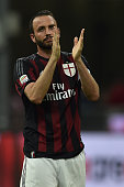 Giampaolo Pazzini of AC Milan salutes the fans at the end of the Serie A match between AC Milan and Torino FC at Stadio Giuseppe Meazza on May 24...