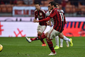 Giampaolo Pazzini of AC Milan scores a goal during the Serie A match between AC Milan and AC Cesena at Stadio Giuseppe Meazza on February 22 2015 in...
