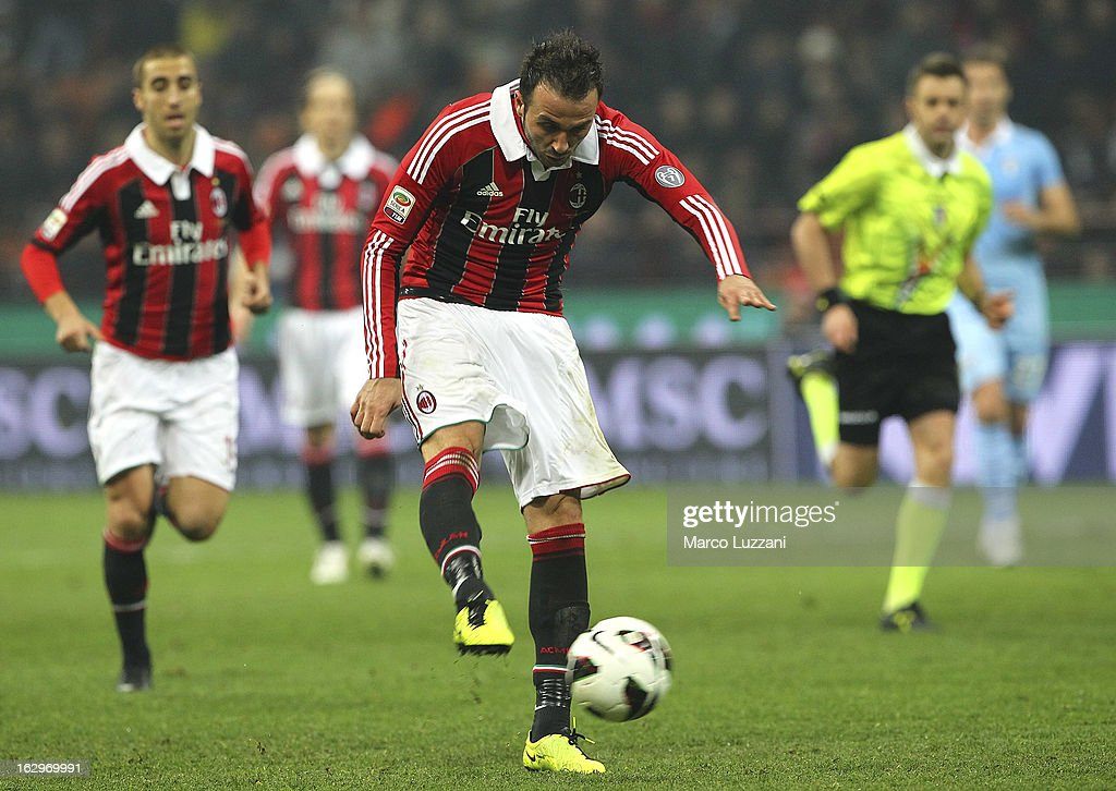 Giampaolo Pazzini of AC Milan scores his second goal during the Serie A match between AC Milan and S.S. Lazio at San Siro Stadium on March 2, 2013 in Milan, Italy.