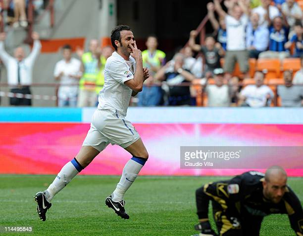 Giampaolo Pazzini of FC Inter Milan celebrates scoring the first goal during the Serie A match between FC Internazionale Milano and Catania Calcio at...