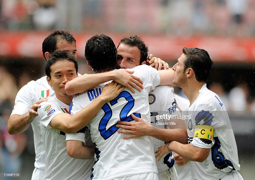 Giampaolo Pazzini (C) of FC Inter Milan celebrates scoring the second goal during the Serie A match between FC Internazionale Milano and Catania Calcio at Stadio Giuseppe Meazza on May 22, 2011 in Milan, Italy.
