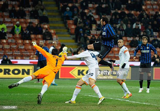 Giampaolo Pazzini of FC Inter Milan scores the first goal during the Serie A match between FC Internazionale Milano and US Lecce at Stadio Giuseppe...