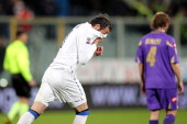 Giampaolo Pazzini of FC Internazionale Milano celebrates after scoring a goal during the Serie A match between ACF Fiorentina and FC Internazionale...