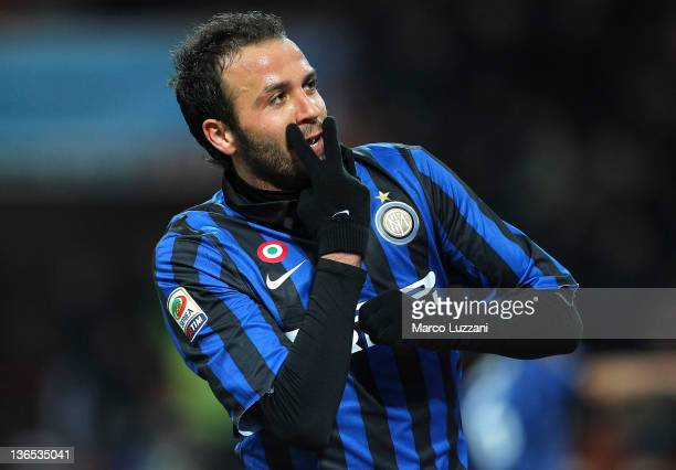 Giampaolo Pazzini of FC Internazionale Milano celebrates after scoring a goal during the Serie A match between FC Internazionale Milano and Parma FC...