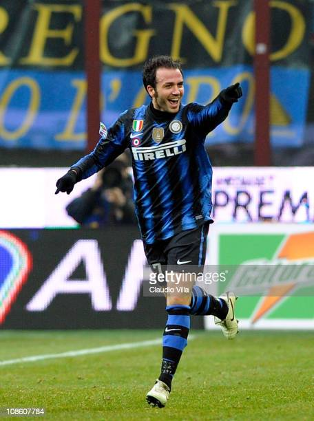 Giampaolo Pazzini of FC Internazionale Milano celebrates scoring his team's second goal during the Serie A match between FC Internazionale Milano and...
