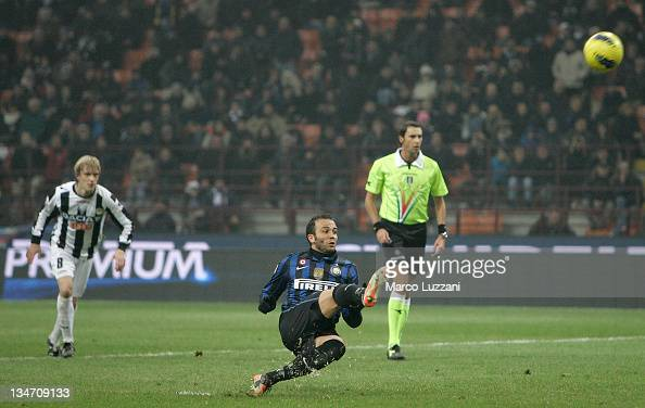 Giampaolo Pazzini of FC Internazionale Milano misses a penalty during the Serie A match between FC Internazionale Milano and Udinese Calcio at Stadio...