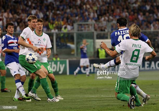 Giampaolo Pazzini of Genua scores his team's second goal during the Uefa Champions League qualifying second leg match between Sampdoria Genua and...