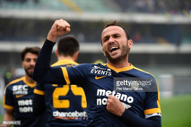 Giampaolo Pazzini of Hellas Verona celebrates his first goal during the Serie A match between AC Chievo Verona and Hellas Verona FC at Stadio...