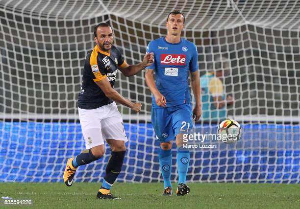 Giampaolo Pazzini of Hellas Verona celebrates his goal during the Serie A match between Hellas Verona and SSC Napoli at Stadio Marcantonio Bentegodi...