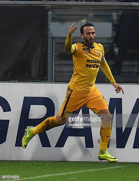 Giampaolo Pazzini of Hellas Verona FC celebrates after scoring the goal 12 during the Serie B match between Spezia Calcio and Hellas Verona FC at...