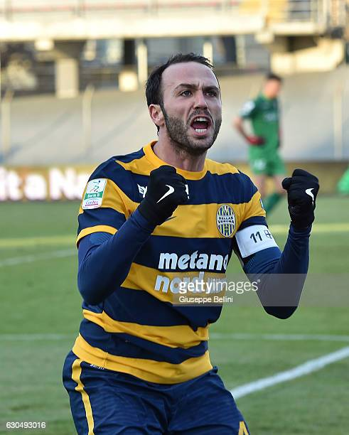 Giampaolo Pazzini of Hellas Verona FC celebrates after scoring the goal 11 during the Serie B match between Carpi FC and Hellas Verona FC at Stadio...