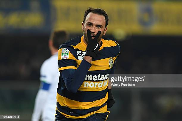 Giampaolo Pazzini of Hellas Verona FC celebrates the opening goal during the Serie B match between Hellas Verona FC and AC Cesena at Stadio...