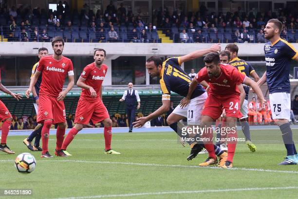 Giampaolo Pazzini of Hellas Verona FC in action during the Serie A match between Hellas Verona FC and ACF Fiorentina at Stadio Marc'Antonio Bentegodi...