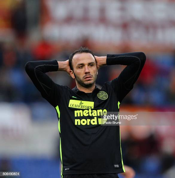 Giampaolo Pazzini of Hellas Verona FC reacts during the Serie A match between AS Roma and Hellas Verona FC at Stadio Olimpico on January 17 2016 in...