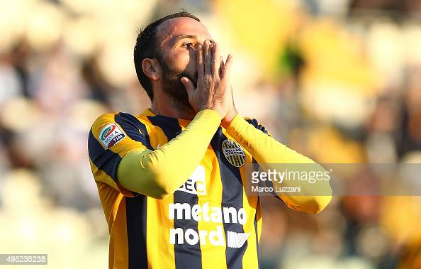Giampaolo Pazzini of Hellas Verona FC reacts to a missed chance during the Serie A match between Carpi FC and Hellas Verona FC at Alberto Braglia...