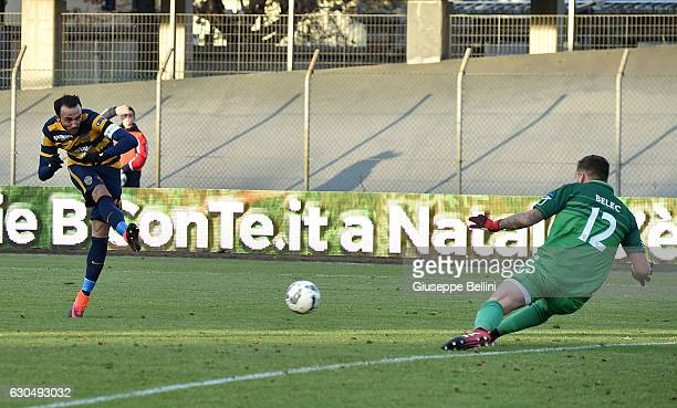 Giampaolo Pazzini of Hellas Verona FC scores the goal 11 during the Serie B match between Carpi FC and Hellas Verona FC at Stadio Sandro Cabassi on...