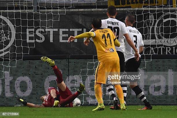 Giampaolo Pazzini of Hellas Verona FC scores the goal 12 during the Serie B match between Spezia Calcio and Hellas Verona FC at Stadio Alberto Picco...