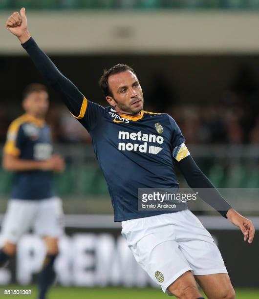 Giampaolo Pazzini of Hellas Verona gestures during the Serie A match between Hellas Verona FC and UC Sampdoria at Stadio Marc'Antonio Bentegodi on...