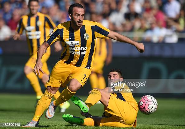 Giampaolo Pazzini of Hellas Verona in action during the Serie A match between Atalanta BC and Hellas Verona FC at Stadio Atleti Azzurri d'Italia on...