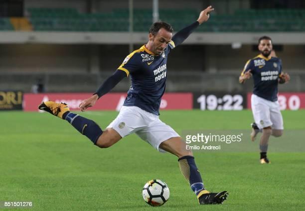 Giampaolo Pazzini of Hellas Verona in action during the Serie A match between Hellas Verona FC and UC Sampdoria at Stadio Marc'Antonio Bentegodi on...