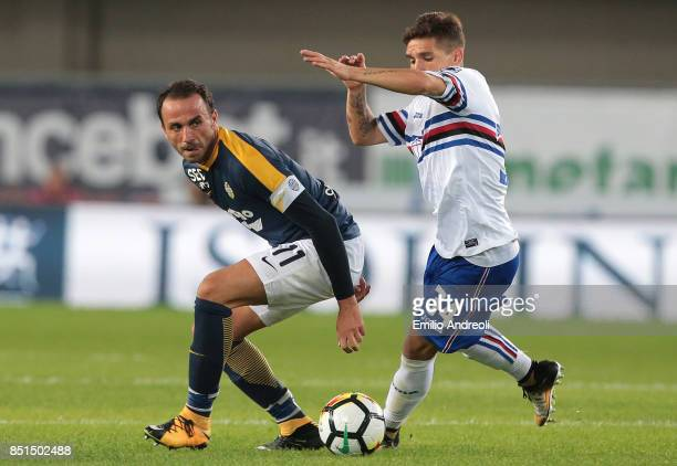 Giampaolo Pazzini of Hellas Verona is challenged by Lucas Torreira of UC Sampdoria during the Serie A match between Hellas Verona FC and UC Sampdoria...