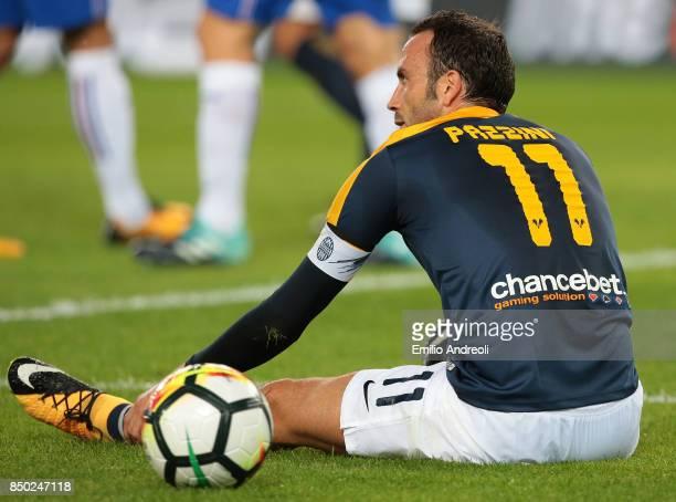 Giampaolo Pazzini of Hellas Verona reacts during the Serie A match between Hellas Verona FC and UC Sampdoria at Stadio Marc'Antonio Bentegodi on...