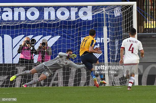 Giampaolo Pazzini of Hellas Verona rolls the ball for penalty during the Serie A match between Hellas Verona FC and AC Milan at Stadio Marc'Antonio...