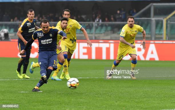 Giampaolo Pazzini of Hellas Verona scores his first goal during the Serie A match between AC Chievo Verona and Hellas Verona FC at Stadio...