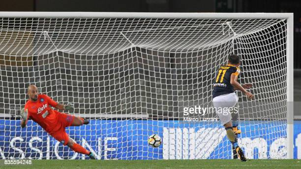 Giampaolo Pazzini of Hellas Verona scores his goal from the penalty spot during the Serie A match between Hellas Verona and SSC Napoli at Stadio...