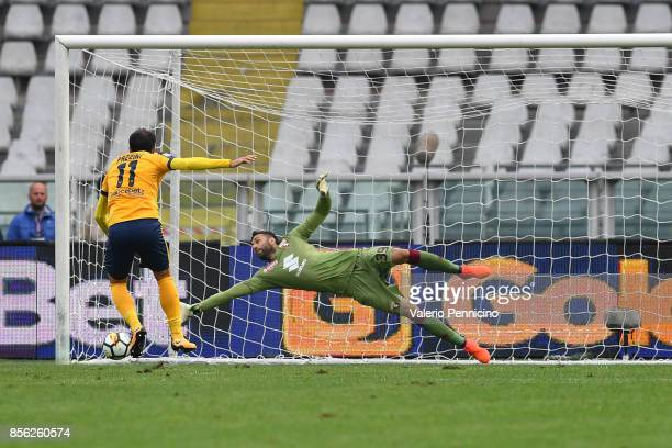Giampaolo Pazzini of Hellas Verona scores the equalising goal during the Serie A match between Torino FC and Hellas Verona FC at Stadio Olimpico di...
