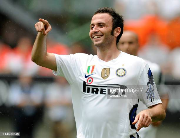 Giampaolo Pazzini of Inter Milan celebrates after scoring during the Serie A match between FC Internazionale Milano and Catania Calcio at Stadio...