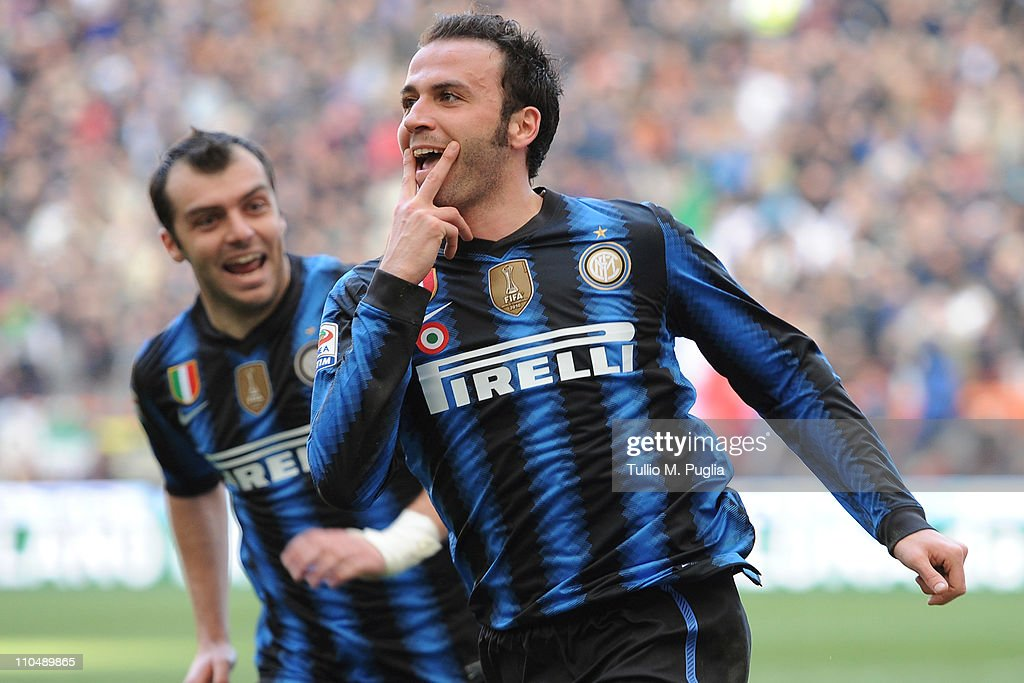 Giampaolo Pazzini of Inter Milan celebrates after scoring the opening goal during the Serie A match between FC Internazionale Milano and Lecce at Stadio Giuseppe Meazza on March 20, 2011 in Milan, Italy.